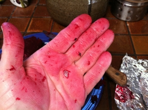 Wear gloves if you don't like your hands red after skinning beets