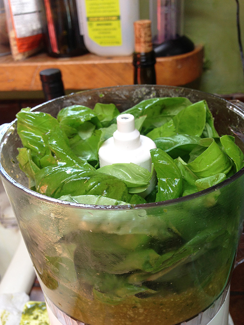 Add drained basil leaves