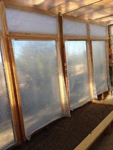 bubble wrap down on windows
