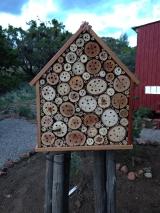 closeup of native bee house