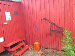 garden shed and old plough