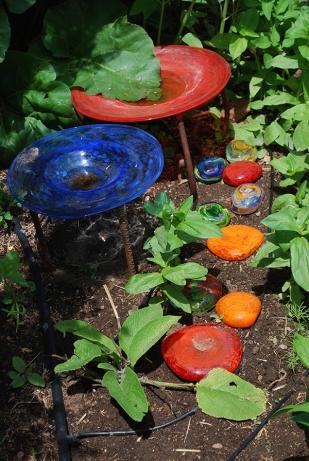 glass art in garden
