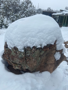 snow on rock