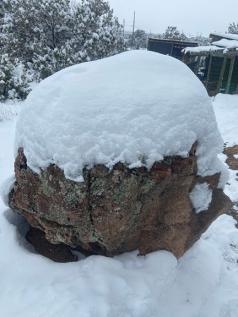 snow on rock